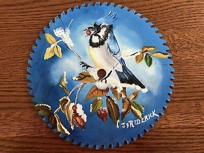 HAND PAINTED SAW BLADE Winter Blue Jay BY J FREDERICK 10""