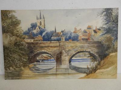 REALLY old PAINTING  water colour RIVER bridge