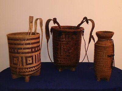 Lot Of 3 Vintage Vietnamese Montagnard Baskets Backpack Hand Woven Authentic