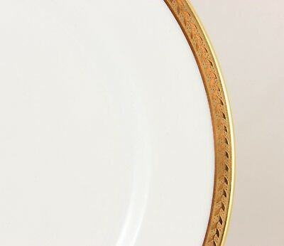 "2 Plates 8.5"" Antique Vignaud Limoges China Raised Gold Encrusted Laurel White"