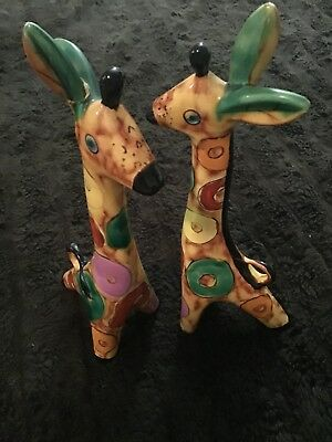 2 Russian china/poreclian giraffe multi coloured ornaments