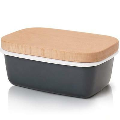 GA Homefavor Butter Dish, Enamel Butter Container with Wooden Lid, Charcoal Gray