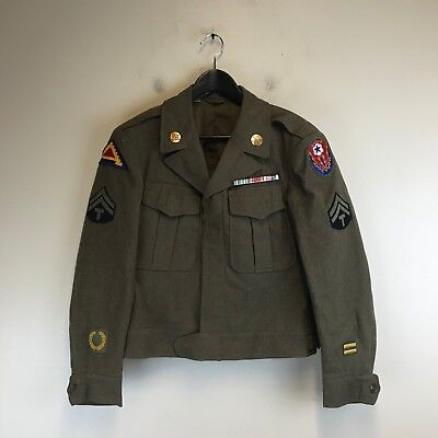 Vintage WWII US Military Coat W/ Patches & Pins (Brown) - Tag Size: 36 S - #679