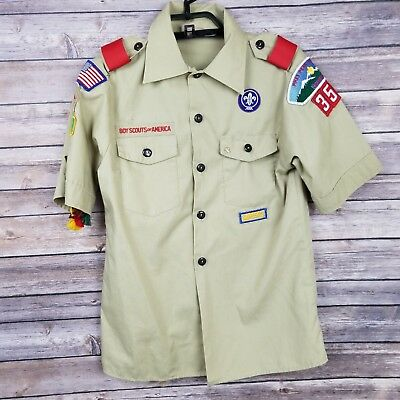 Boy Scouts Of America Brown Beige Button Up Youth Medium Short Sleeve Patches