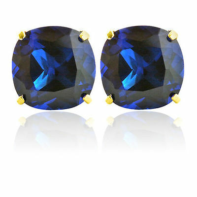 Blue Sapphire Earrings 14K Solid Yellow Gold Cushion Cut Studs