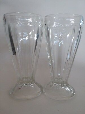 MILKSHAKE Glass Ice Cream Sundae Soda Root beer Float Ribbed Vintage 7""