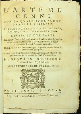 Bonifaccio L'ARTE DE CENNI 1616 4to Sign Language Gesture and Deafness 1ST ED NR