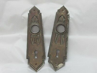 Antique Gothic Stamped Metal Classic Door Knob Back Plates Escutcheons Steampunk