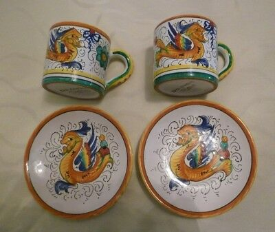Lot of 4 Pieces of Italian Art Pottery Italy Siena - 2 Demi Cups & 2 Plates