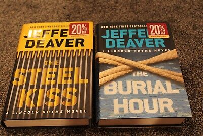 Jeffrey Deaver-Lincoln Rhyme Novel Lot-HBs,DJs-The Steel Kiss, The Burial House