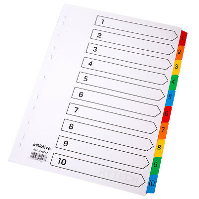 Numbered 1 -10 A4 White Index Dividers Colour Mylar Tabbed Card File Ring Binder