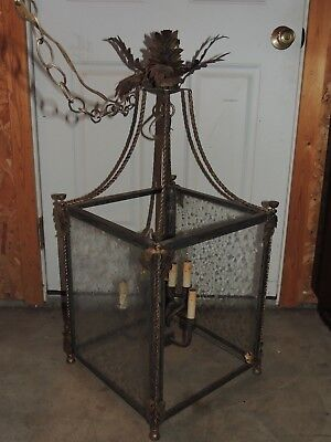 "VTG Lamp 36"" Gothic Rustic Spanish Revival Hanging Light Chandelier Arts Crafts"