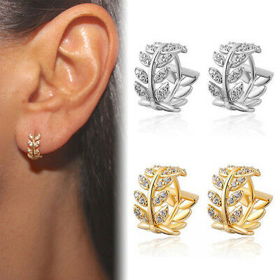 Antique Gold Silver Crystal Leaf EarCuff Wrap Clip Ear Stud Punk Rock Earring B