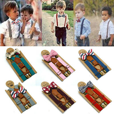 Kids Baby Boys Wedding Matching Braces Suspenders and Luxury Bow Tie Set US