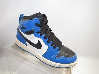 Air Jordan Size 2Y Blue Black White Leather Ankle Sneakers Basketball Boys  Shoes 25469f296