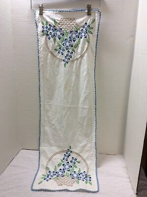 Vintage Embroidered Table Runner Blue Flowers Baskets