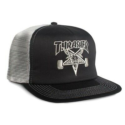 9296e115138 Thrasher Magazine EMBROIDERED SKATE GOAT Skateboard Trucker Hat BLACK SILVER