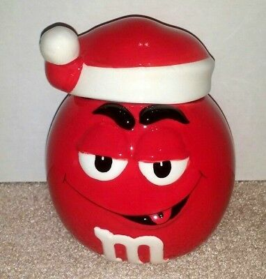 M&M's CERAMIC CANDY JAR RED w/SANTA HAT Christmas Holiday EXCELLENT