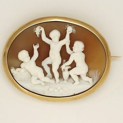Antique Victorian Shell Cameo Brooch French 18K Gold Hand Carved Putti Scene