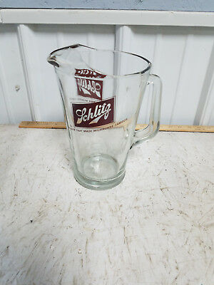 """Schlitz Beer Glass Pitcher """"The Beer That Made Milwaukee Famous"""" Vintage Barware"""
