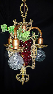 Vtg Gothic Revival Deco  Metal Chandelier Fixture Wine Country Grape Clusters