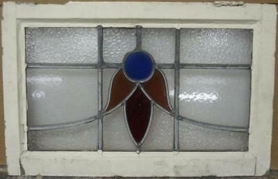 "MID SIZED OLD ENGLISH LEADED STAINED GLASS WINDOW Abstract Sweep 23.75"" x 15.5"""