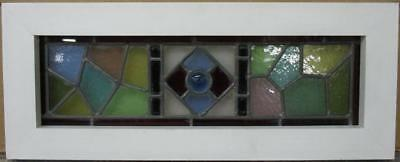 "VICTORIAN ENGLISH LEADED STAINED GLASS WINDOW Awesome Geometric 21.25"" x 8.5"""