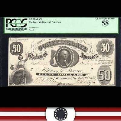 Fully Framed T-8 1861 $50 Confederate Currency *civil War Money* Pcgs 58  46732