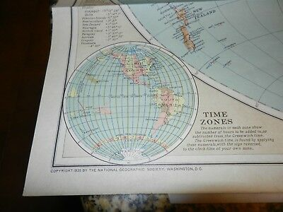 Antique World Map 1935 National Geographic