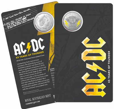 ⚡️AC/DC 50c cent coin Mint Carded 45 YEARS OF THUNDER +1 AC/DC GUITAR PLECTRUM⚡️