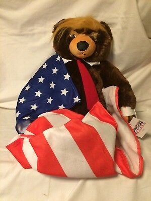 USA GENUINE Trumpy Bear Deluxe With Certificate and American Flag Blanket NEW
