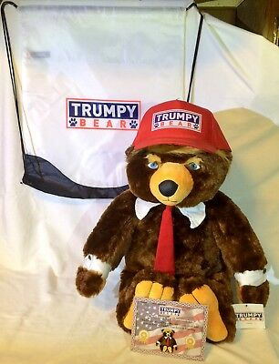 USA GENUINE Trumpy Bear With Hat, Bag, Certificate, & American Flag Blanket NEW!