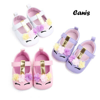 US Newborn Baby Girl Floral Soft Sole Crib Shoes Anti-slip Sneaker Prewalker