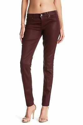 Women's Level 99 Mid-Rise Coated Skinny Jeans Burgandy NWT