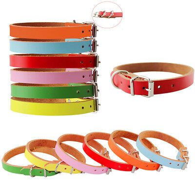 6 Colors Genuine Cowhide Leather Dog Pet Puppy Cat Collar Neck Buckle Adjustable