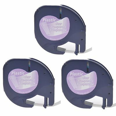 3PK Plastic Label Tape 12267 for DYMO Letra Tag 16952 Black on Clear 12MM