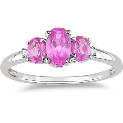 Miadora 10k Gold 1 1/4ct TGW Created Pink Sapphire and Diamond Accent Ring