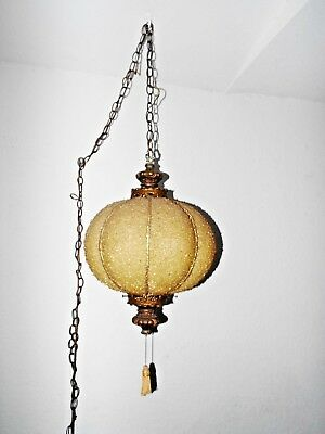 LAMPS RARE ANTIQUE HARD PLASTIC & BRASS HANGING CHANDELIER CEILING LAMPw/CHAIN