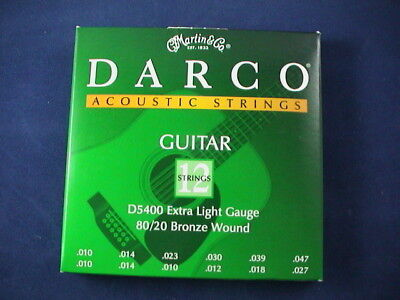 Martin Darco 12 String Acoustic Guitar Set D5400 Extra Light Gauge 80/20 Bronze