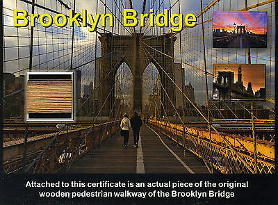 Genuine Piece of the World Famous Brooklyn Bridge on a Gorgeous Certificate