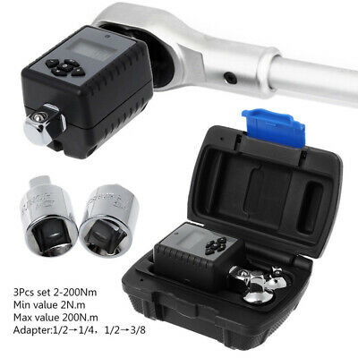"3Pcs Set  2-200Nm Digital Display Torque Wrench Adapter 1/2"" 3/8"" & 1/4"" Drive"