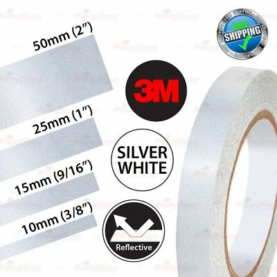 3M REFLECTIVE Safety Car Bike Motorcycle Conspicuity Decal Stickers SILVER WHITE