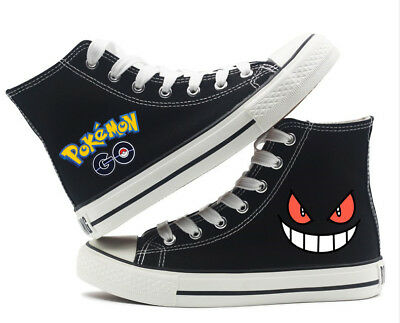 Pokemon Go Gengar Cartoon Canvas High Top Shoes Boys Causal  Flat Sneakers Shoes