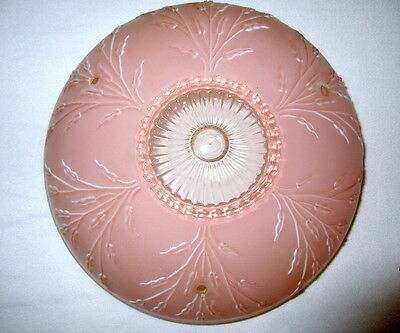 Vtg Art Deco Ceiling Lamp Fixture Bowl Chandelier Frosted Glass Pink Floral 10""