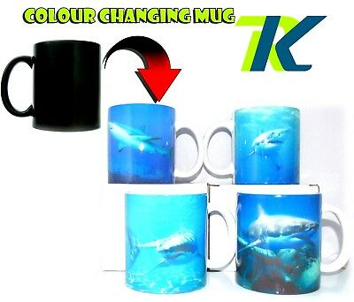 SHARK with your text changing colour mug GIFT Heat Sensitive Mug TEA COFFEE CUP