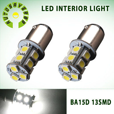 2x White BA15D 5050 13-SMD 1154 1142 1178 Cabin Boat Interior LED Light Bulbs