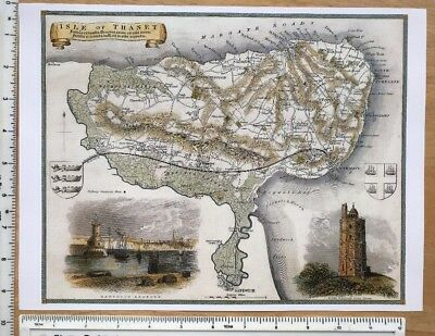 """Old Antique colour map Isle of Thanet England: c1830's: Moule: 9 x 12"""" Reprint"""