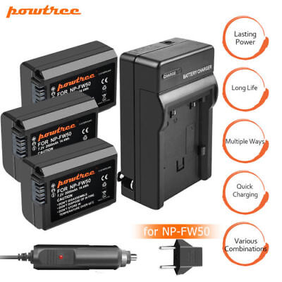 Powtree NP-FW50 Battery /LCD Dual Charger ForSony Alpha A6500 A6300 A6000 A7r UB
