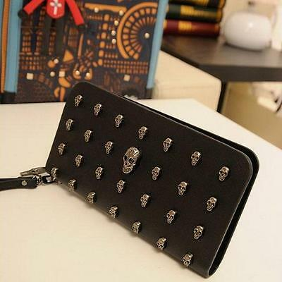 Skull Punk Art Rivet Studded Women Wallet Day of the Dead Wristlet Purse 6A