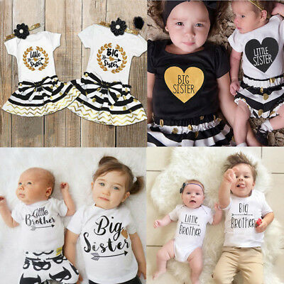 Toddler Kids Baby Little/Big Sister/Brother Romper T-shirt Dress Outfits Clothes